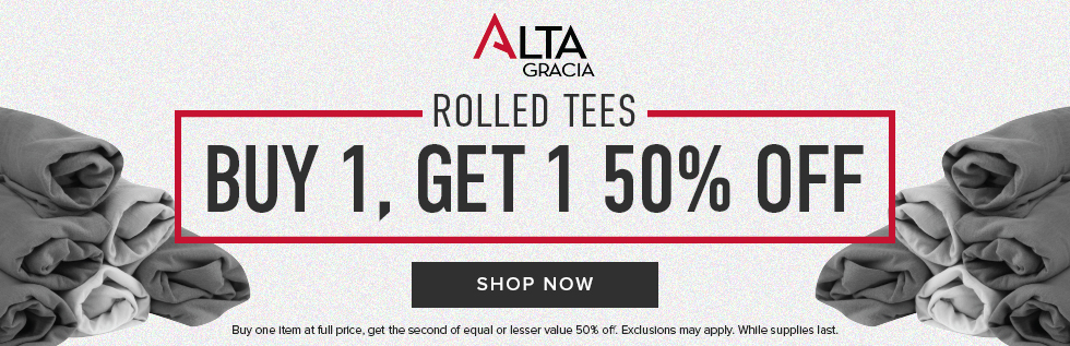 Picture of rolled tee shirts. Alta Gracia Rolled Tees: buy 1, get 1 50% off. Buy one item at full price, get the second of equal or lesser value 50% off. Exclusions may apply. While supplies last. Click to shop now.